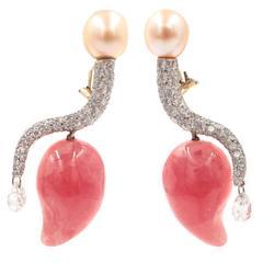 Diamond Pave Pink Pearl Rhodocrosite Drop Platinum Earrings