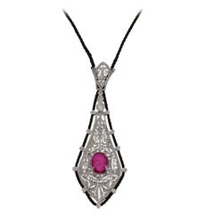 Diamond Ruby and Drawstring Gold Necklace