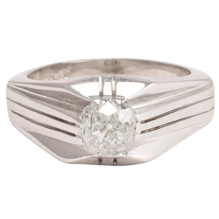 Art Deco 1 2ct Cushion Cut Diamond Platinum Ring For Sale at 1stdibs
