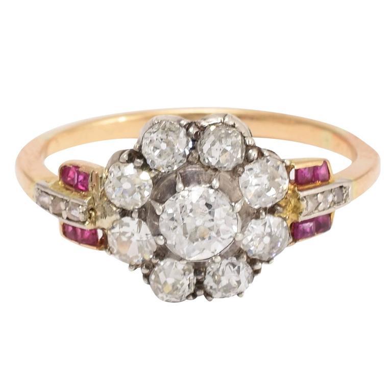Art Deco Diamond Ruby Flower Cluster Gold Ring