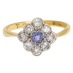 1920s Cornflower Sapphire Diamond Cluster Gold Platinum Ring