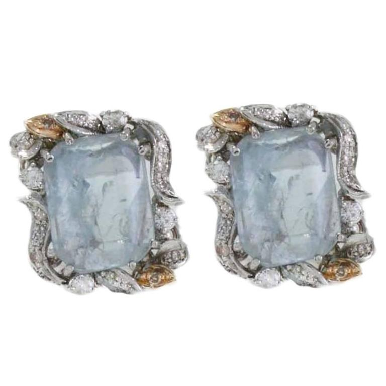 Luise  Aquamarine Diamond Earrings 1