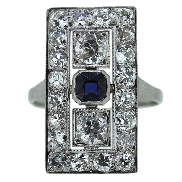 1920s Art Deco 1.50 Carats Diamonds Sapphire Gold Ring