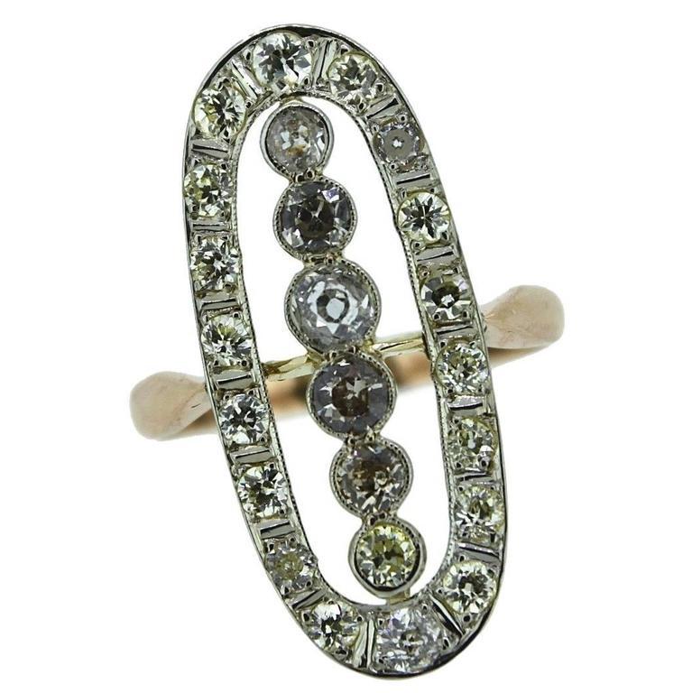 1910s 1920s Old European Cut Diamonds Gold Ring