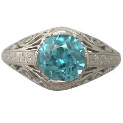 Antique 1920s 3.34 Carat Blue Zircon and Platinum Cocktail Ring