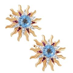 Cartier Diamond Ruby Aquamarine Multi-Tone Gold Clip-on Earrings