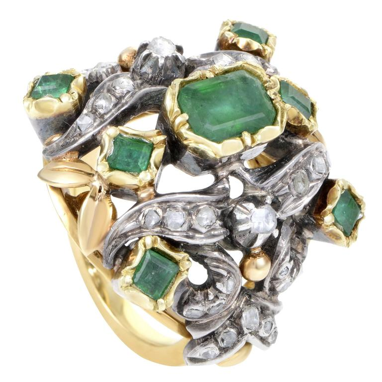 Antique Diamond Emerald Yellow Gold Silver Cocktail Ring 1