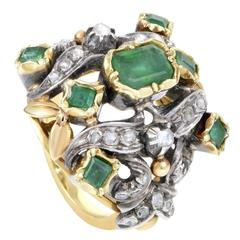 Antique Diamond Emerald Yellow Gold Silver Cocktail Ring