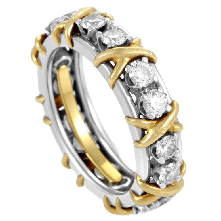 Yellow Gold Diamond Platinum: Tiffany And Co. Schlumberger Diamond Platinum Yellow Gold