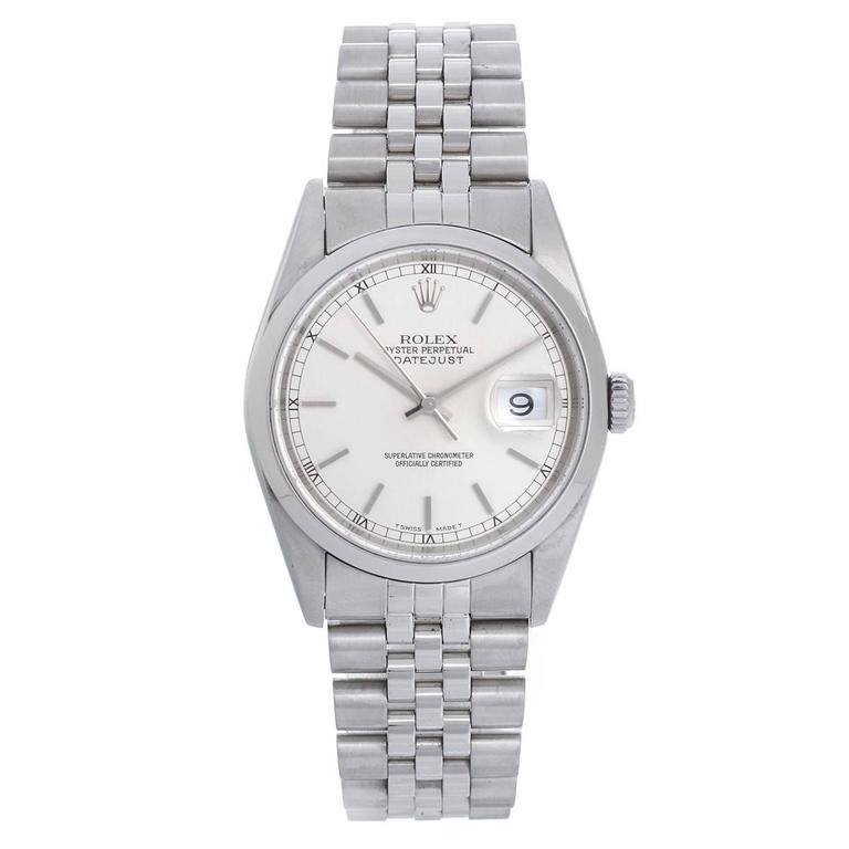 Rolex Datejust Men's Stainless Steel Automatic Watch Dome Bezel 16200
