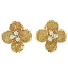 Tiffany & Co. Dogwood Diamond Gold Flower Earrings