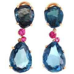 Pomelleto Bahia Topaz Sapphire Gold Earrings