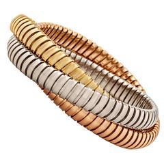 Handmade Tri-Color Gold Three Strand 9 MM Tubogas Rolling Bangle Bracelet
