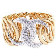 Verdura Double Crescent Diamond Pink Gold Bracelet