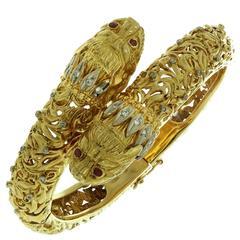 ILIAS LALAOUNIS Chimera Ruby Diamond Gold Bypass Bracelet