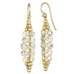 Kothari Polki Diamond Matte Gold One of a Kind Drop Earrings