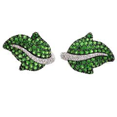 Tsavorite and Diamond Leaf Earrings