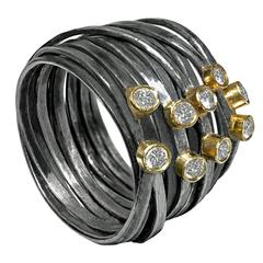 White Diamond Oxidized Silver Gold Spaghetti Strand Wrap Ring