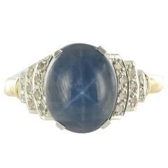 French Art Deco 3.31 Carat Star Sapphire Diamond Ring