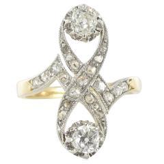 French 1900s Platinium and Gold Diamond Ring