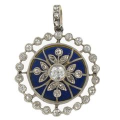 French Antique Diamond and Blue Enamel Medallion Locket Pendant