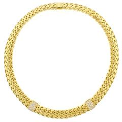 Tiffany & Co. Diamond Yellow Gold Vannerie Necklace