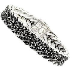 John Hardy Woven Black Sapphire and Sterling Silver Bracelet