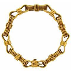 1970s Bulgari Bvlgari Gold Bow Link Bracelet