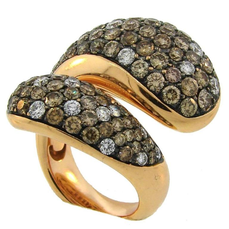 De Grisogono Diamond Rose Gold Stylized Snake Ring For Sale