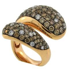 De Grisogono Diamond Rose Gold Stylized Snake Ring