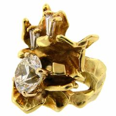 1970s Alfred  Karram 3.70 carat Diamond Gold Cocktail Ring