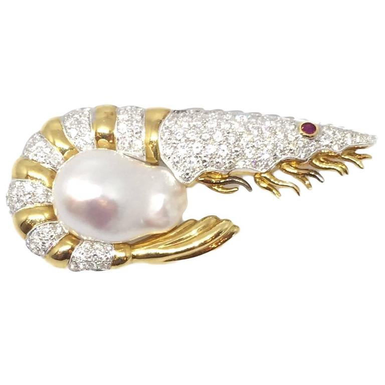 Diamond  Baroque Pearl Shrimp Brooch