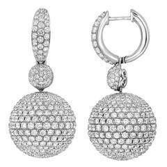 Diamond Pavé Sphere Drop Gold Earrings