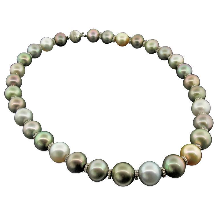 Multicolor Tahitian, South Sea Pearl & Diamond Necklace For Sale