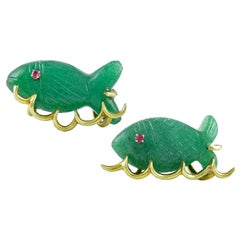 Pair of  Pins --Gold  and Jadeite Fish  Swimming In The Sea