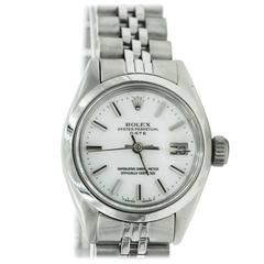 1977 Vintage Ladies Rolex Date Oyster Perpetual Stainless Steel White Dial