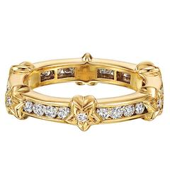 Chanel Yellow Gold and Diamond Star Band Ring