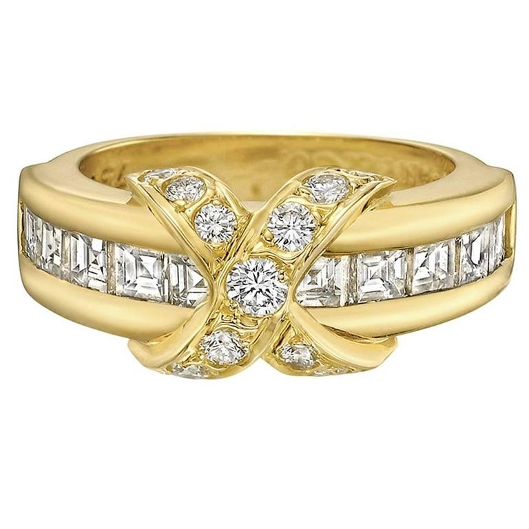 Tiffany & Co. ​Yellow Gold and Diamond 'X' Band Ring
