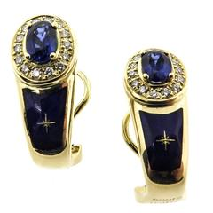 Modern House of Faberge Sapphire  Diamond Earrings