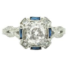 1920s Diamond and Sapphire Ring 1.97 Carat Set in 20 Karat Gold, GIA Certified
