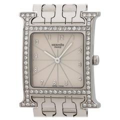 Hermes Stainless Steel Diamond Heure H ref. HH1.530