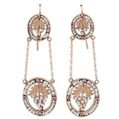 Antique Victorian Natural Pearl Gold Chandelier Earrings