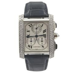 Cartier Tank Francaise Chronoflex Diamonds 18 Karat White Gold Black Band
