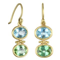 Faye Kim Aquamarine Green Tourmaline Earrings