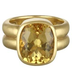 Faye Kim  Antique Cushion Golden Beryl Gold Ring
