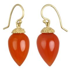 Faye Kim Carnelian Gold Acorn Drop Earrings