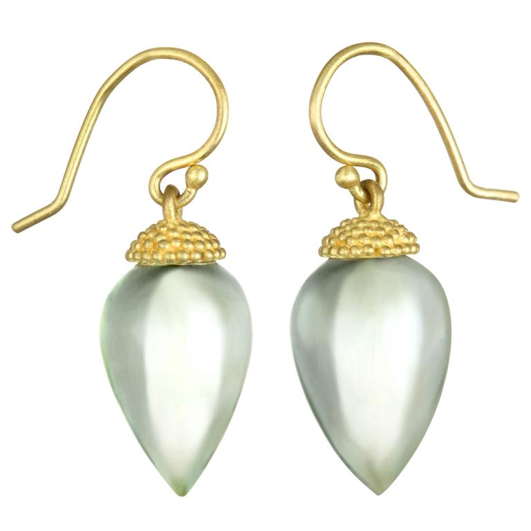 Faye Kim Prazeolite Acorn Gold Drop Earrings