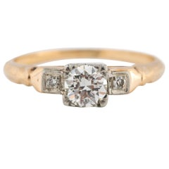 1920s Two-Tone Diamond Engagement Ring, GIA Certified