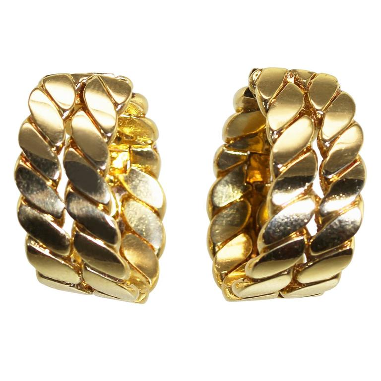 1970s M Gerard Gold Earclips At 1stdibs