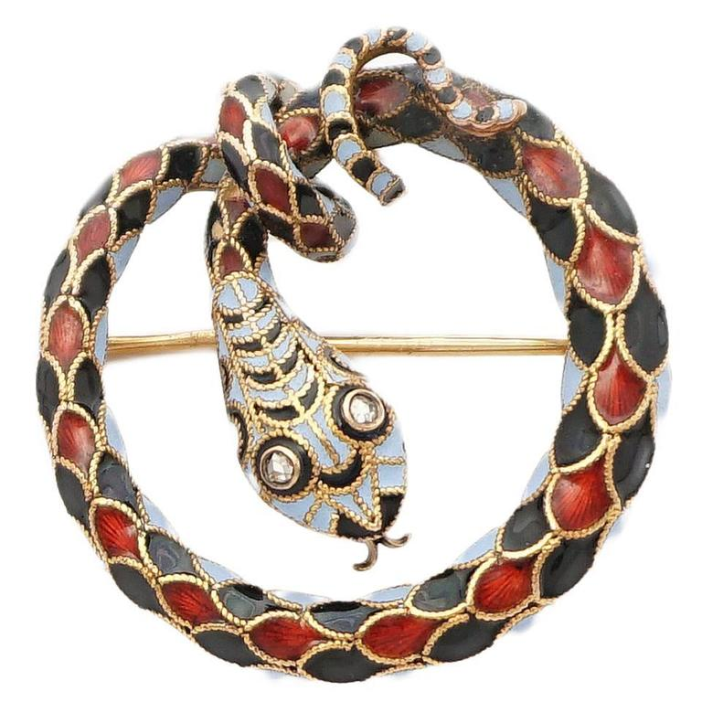 Dramatic Victorian Diamond Enameled Snake Brooch 1